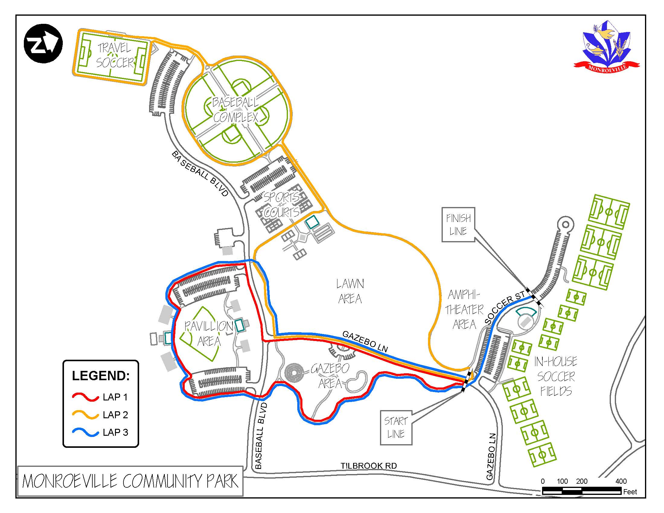Monroeville Foundation Community Day Race/Walk Map