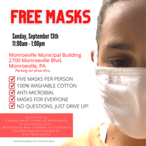 Free mask giveaway sponsored by The Monroeville Foundation, Monroeville Chamber of Commerce and Chabad of Monroeville